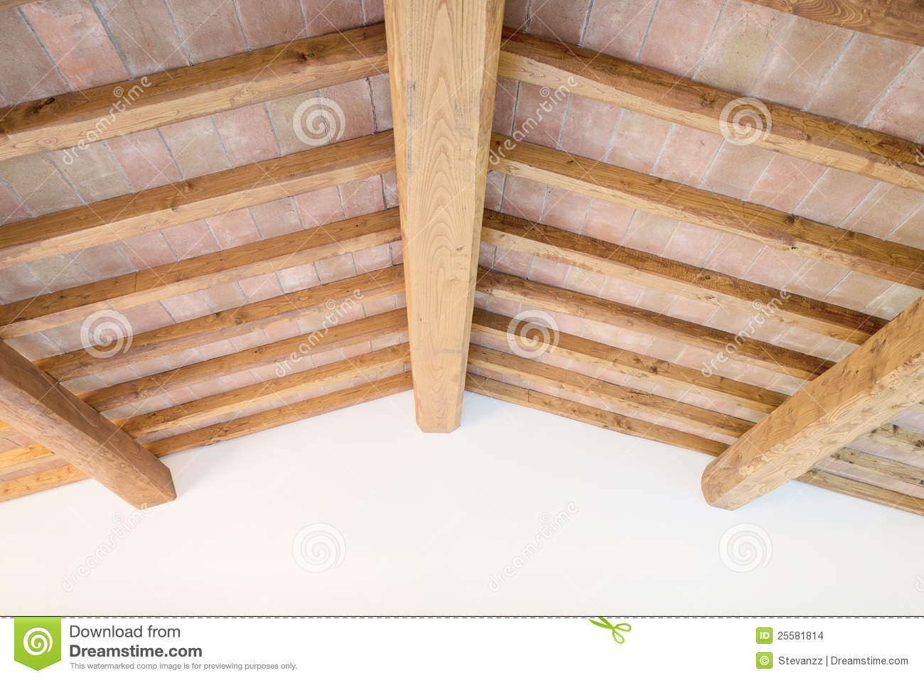 tuscan wood beam ceiling red bricks wall italy stock