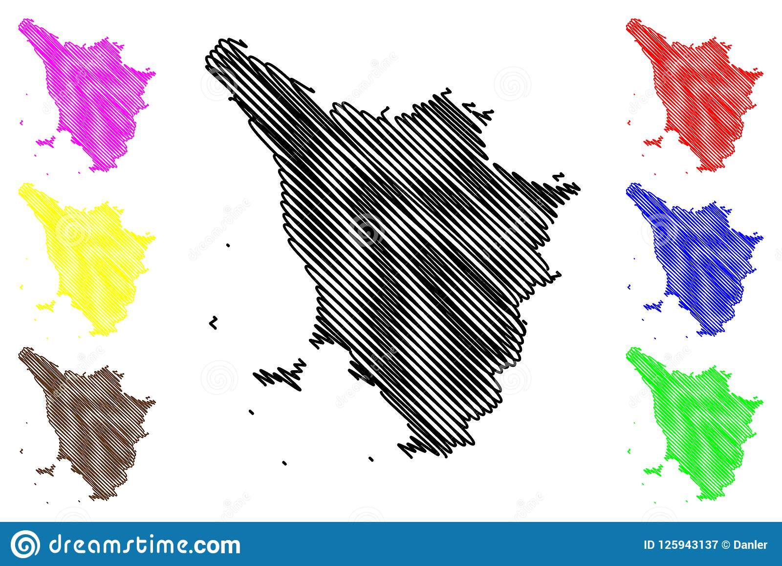 Tuscany Map Of Italy.Tuscany Map Vector Stock Vector Illustration Of Flat 125943137