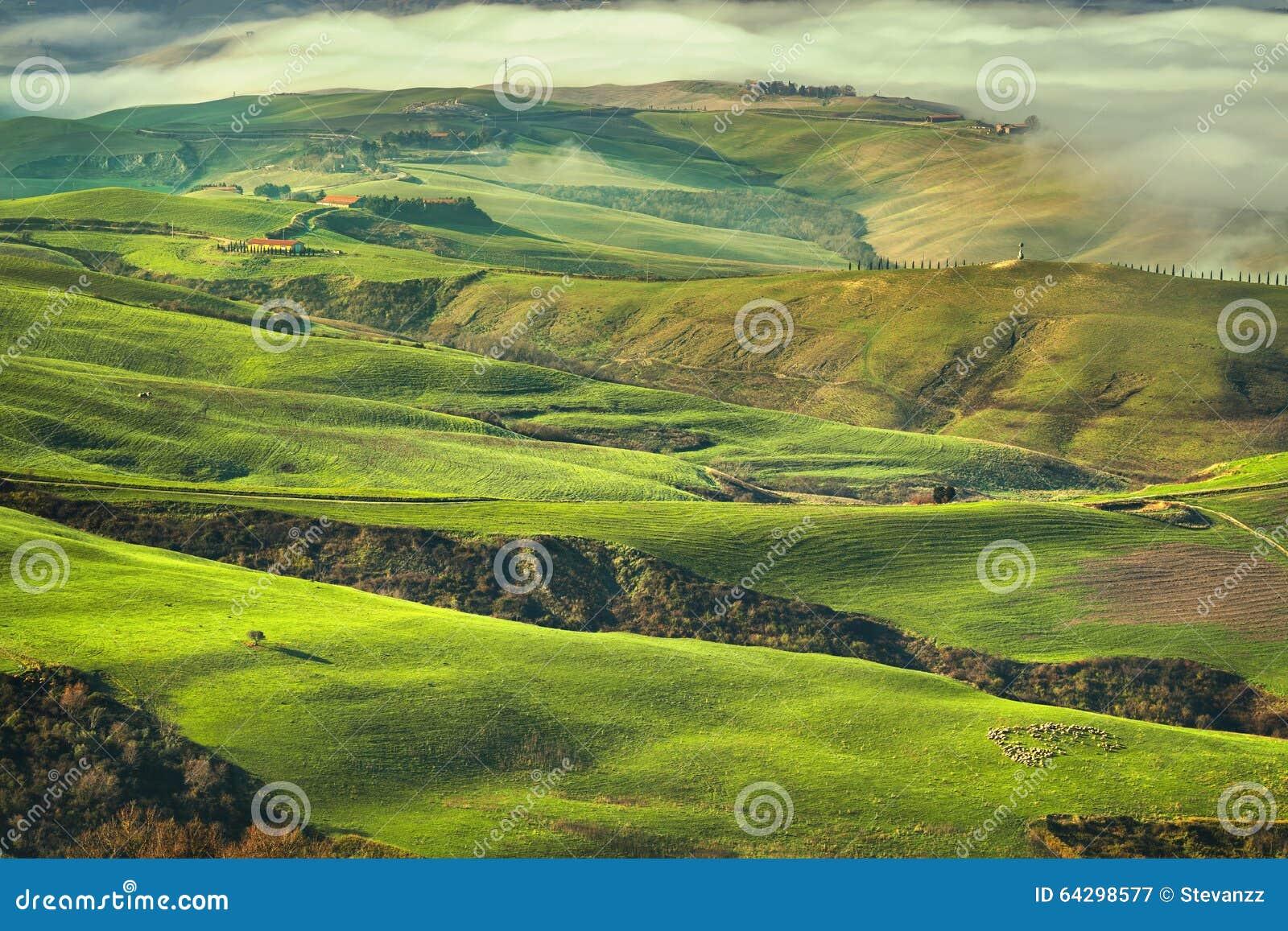 Tuscany dimmig morgon, jordbruksmark och gräsplanfält italy
