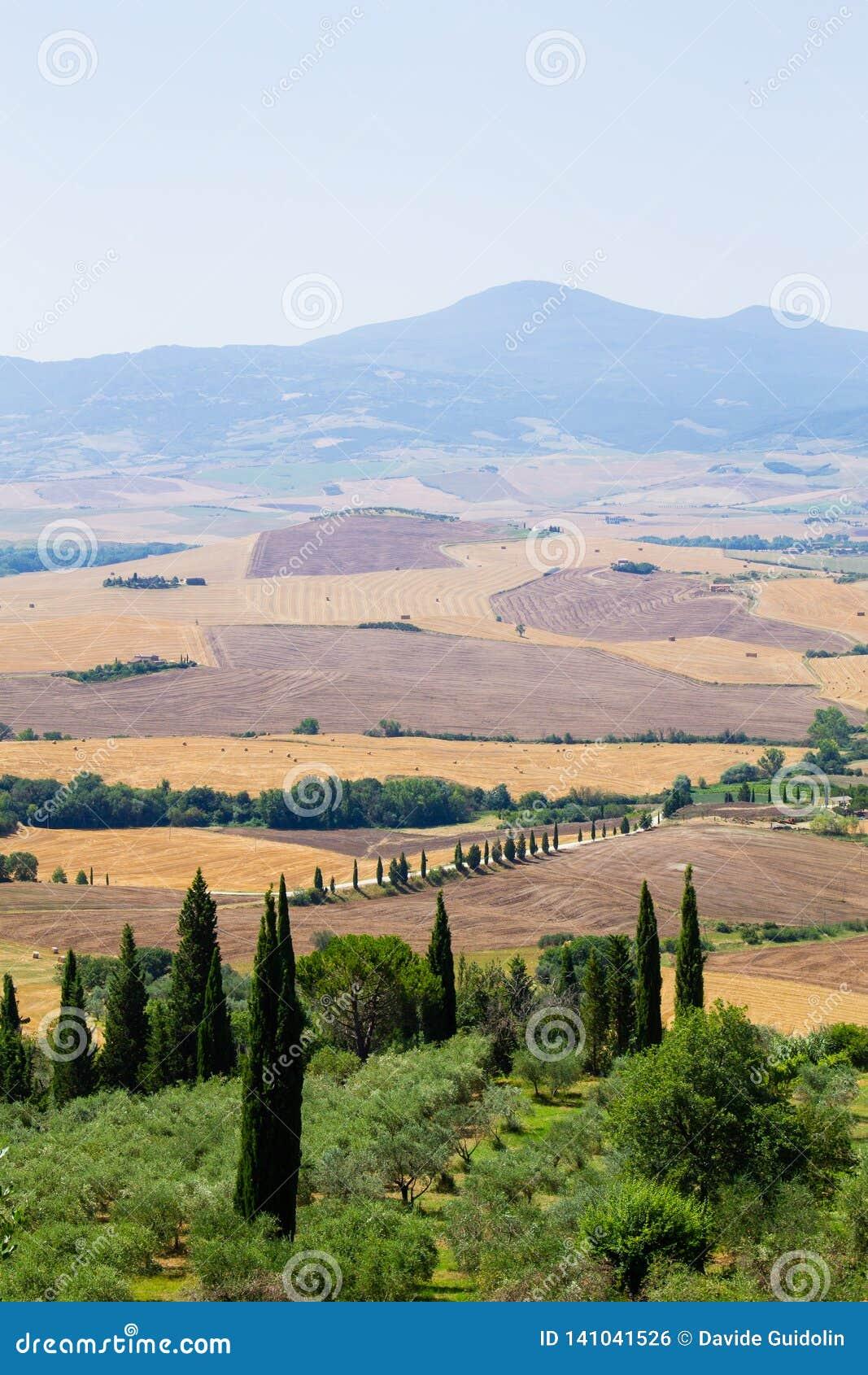 Tuscany Hills Panorama Summer View Italian Landscape Stock Photo