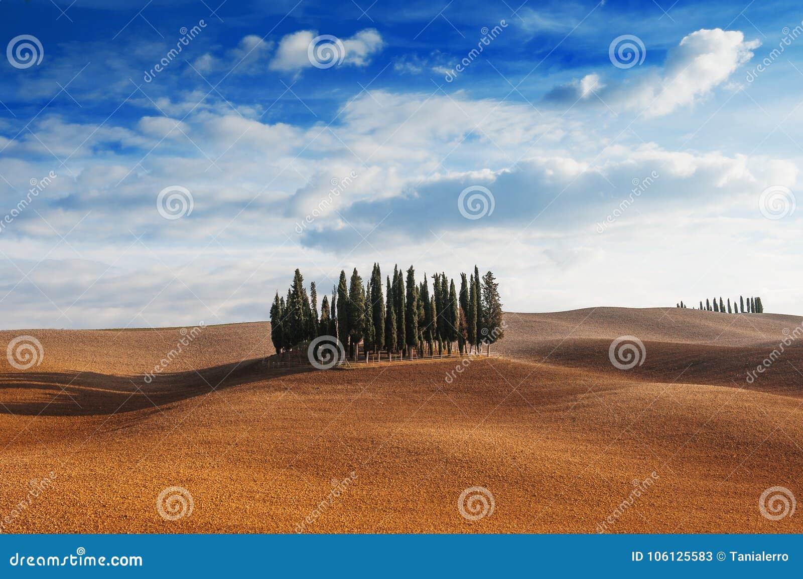 Tuscany, Italien - scenisk sikt av det tuscan landskapet med Rolling Hills, liten skog för cypressträd och blå himmel med moln
