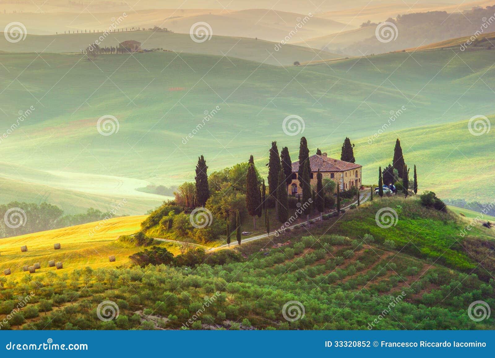 Download Tuscany, Landscape stock photo. Image of morning, farm - 33320852