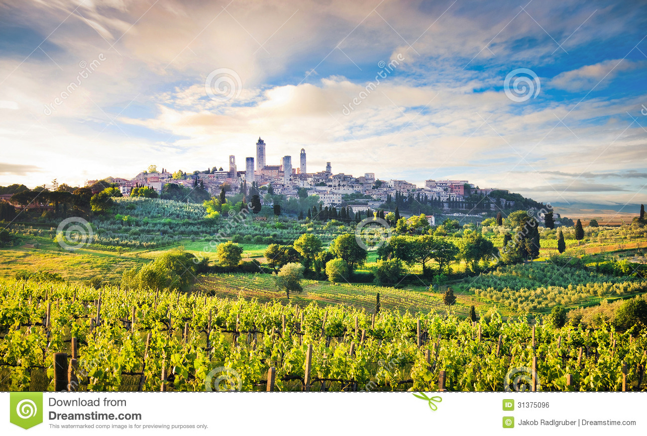 Tuscany Landscape With The City Of San Gimignano At Sunset