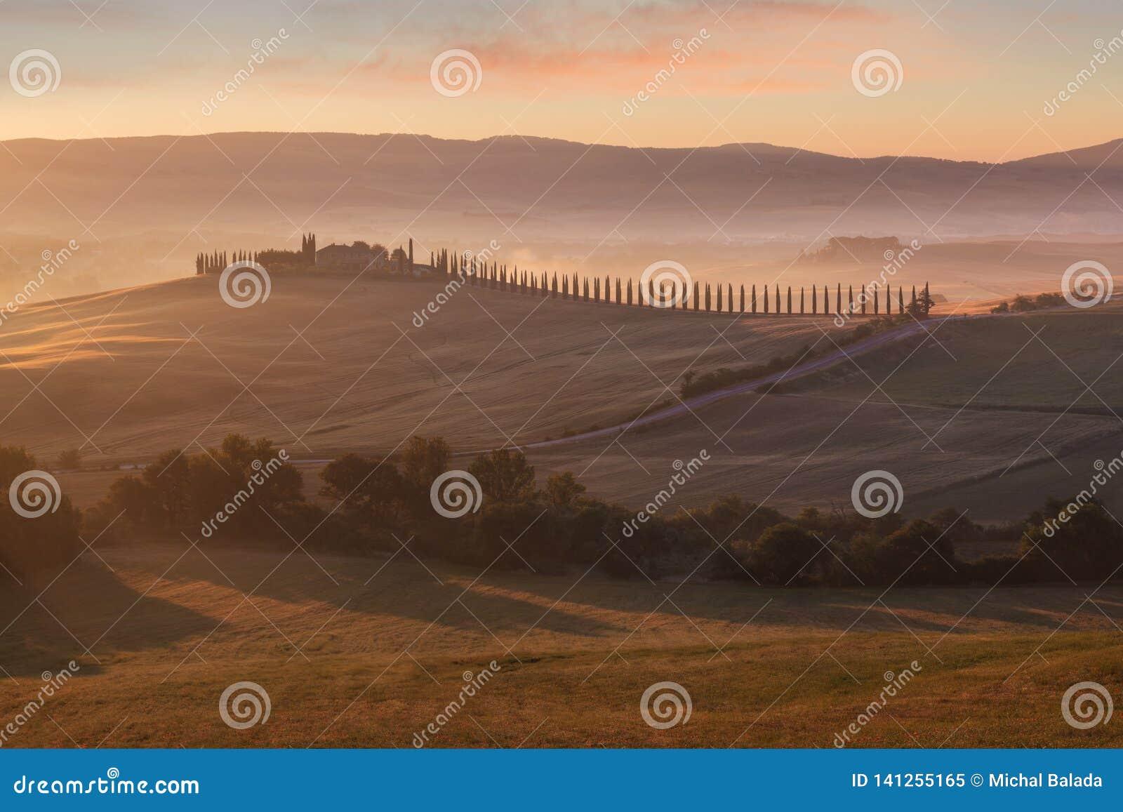 Tuscany liggande på soluppgången Typisk för det tuscan lantbrukarhemmet för region, kullar, vingård Italien nytt grönt tuscany la