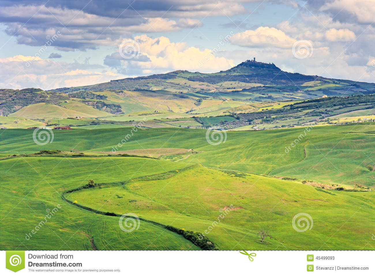 Radicofani Italy  City pictures : Tuscany, Radicofani Village, Farmland And Green Fields. Val D Or Stock ...