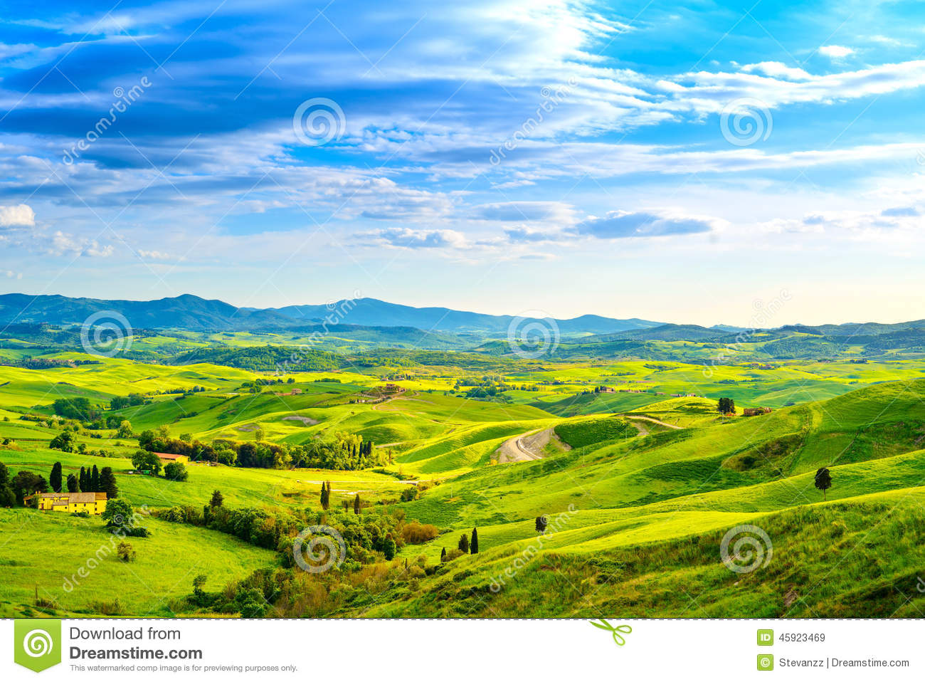 Tuscany rural sunset landscape countryside farm white for Green italy