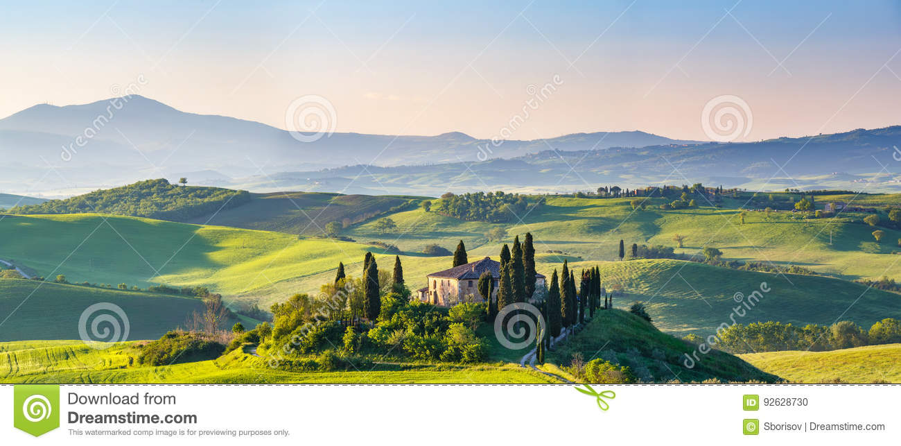 Download Tuscany at spring stock photo. Image of italian, house - 92628730