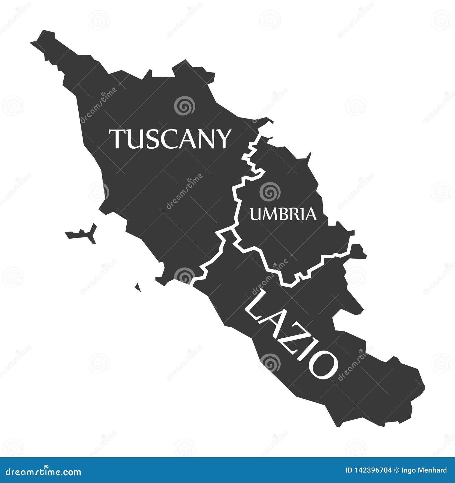 Tuscany Map Of Italy.Tuscany Umbria Lazio Region Map Italy Stock Vector