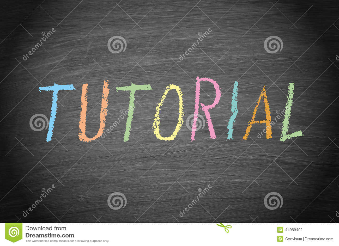 Tutorial In Colored Chalk On Blackboard Stock Photo