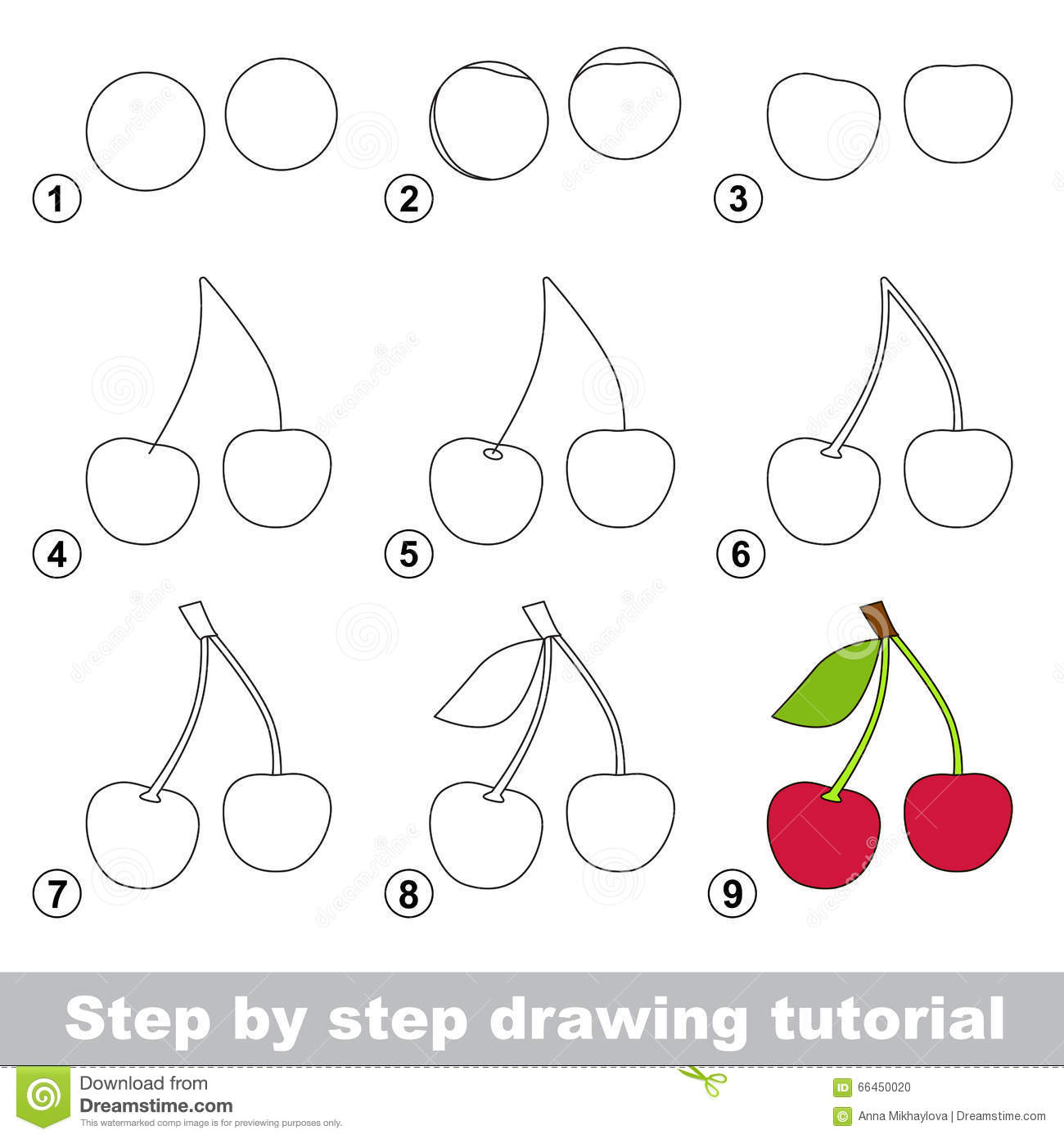 Tutorial Del Dibujo Cómo Dibujar Una Cereza Ilustración ... - photo#18