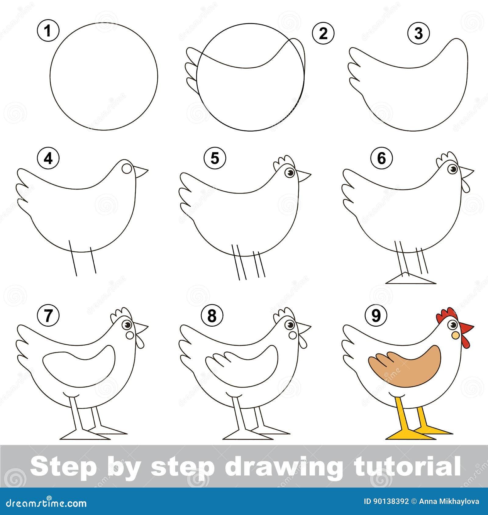 Tutorial Del Dibujo Para Los Niños Preescolares Ilustración del ...
