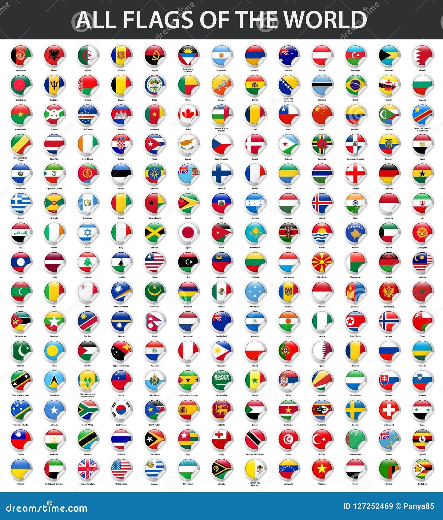 Tutte le bandiere del mondo in ordine alfabetico Stile lucido rotondo dell autoadesivo