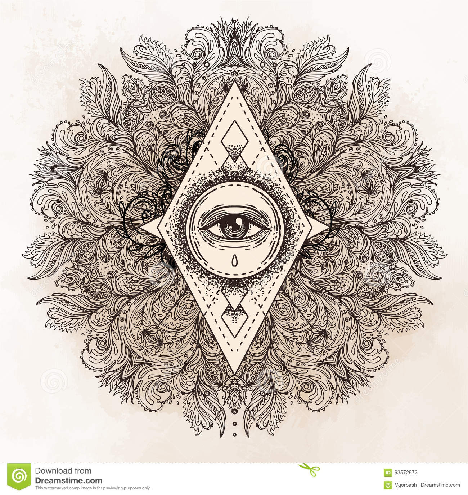 Tutto l occhio vedente nel modello rotondo decorato della mandala Mistico, alchemia,