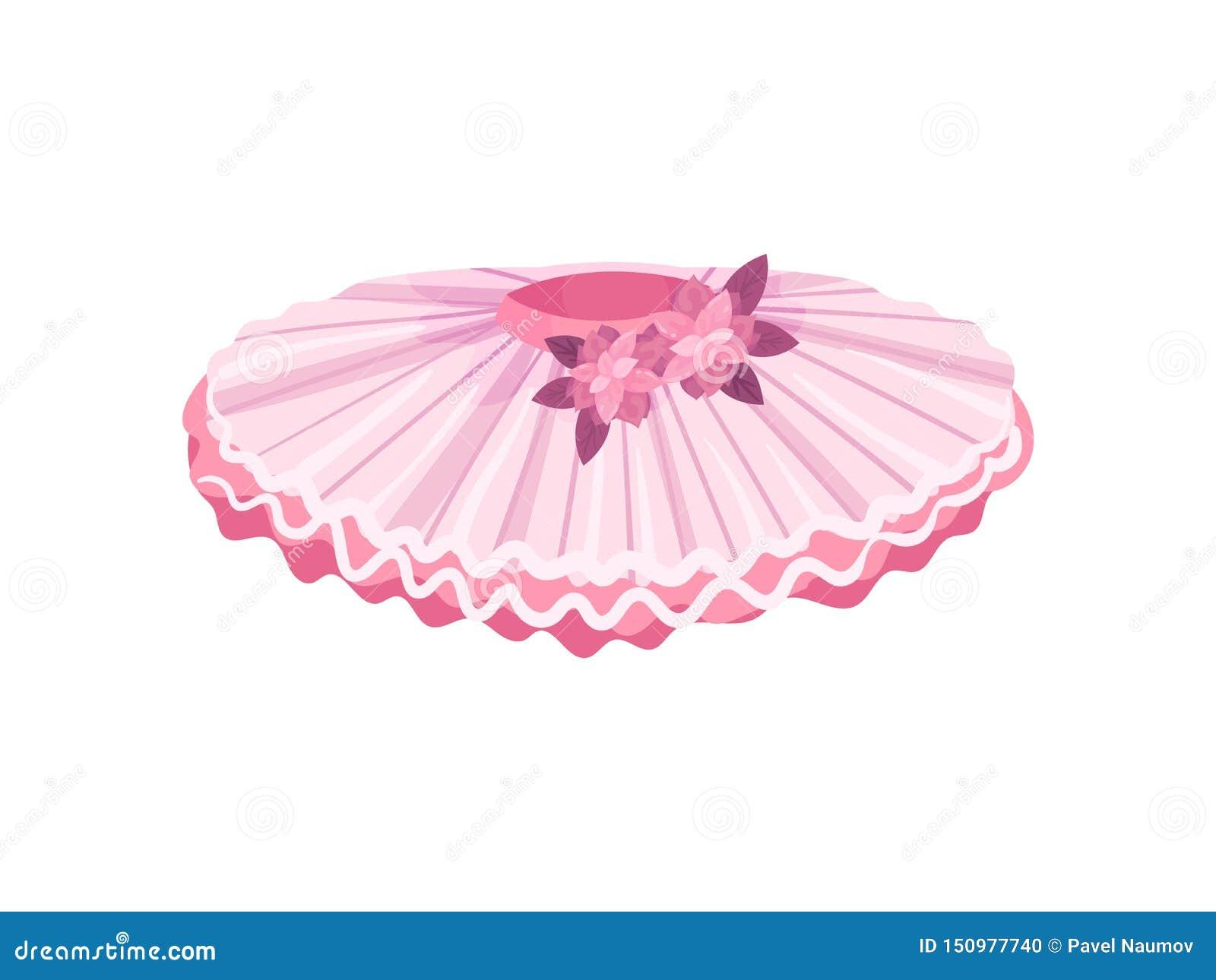 Tutu rose de ballet avec le bord ondulé Illustration de vecteur sur le fond blanc
