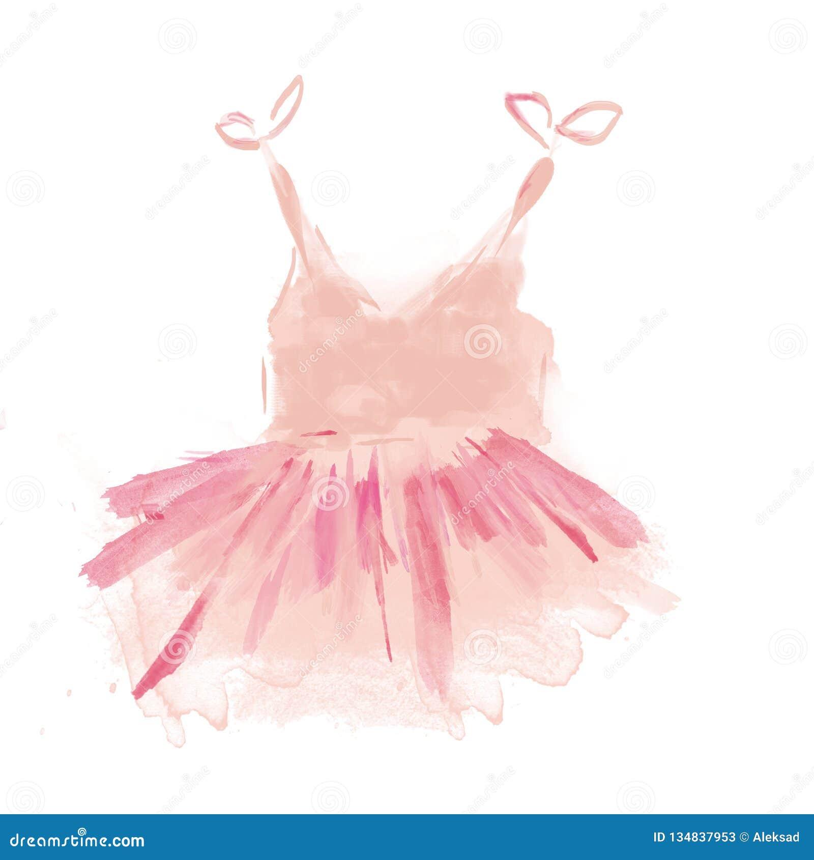Tutu rose mignon de ballet Robe de ballerine d aquarelle