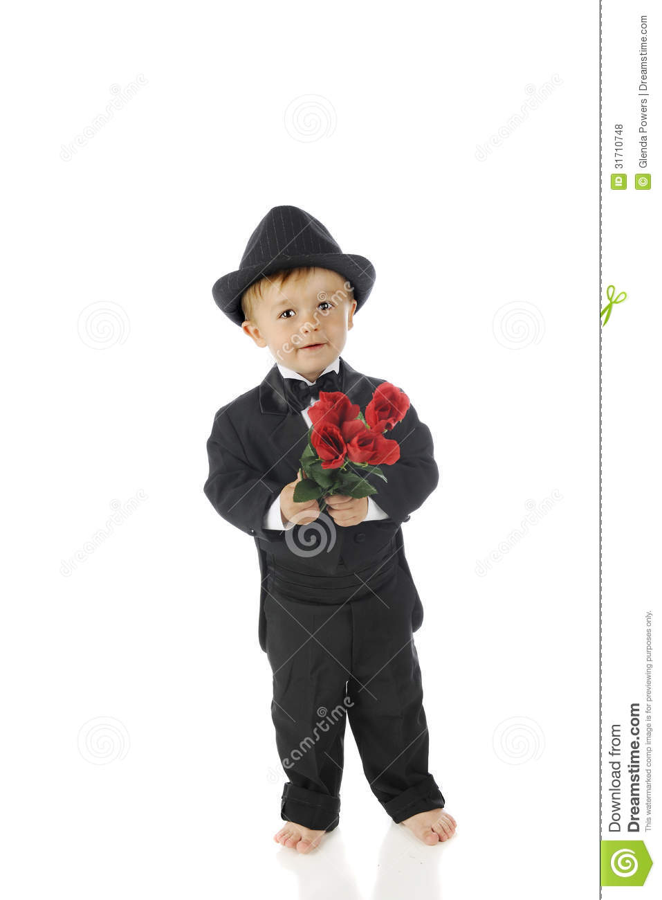 Tuxed Toddler With Roses Stock Photo Image Of Tuxedo