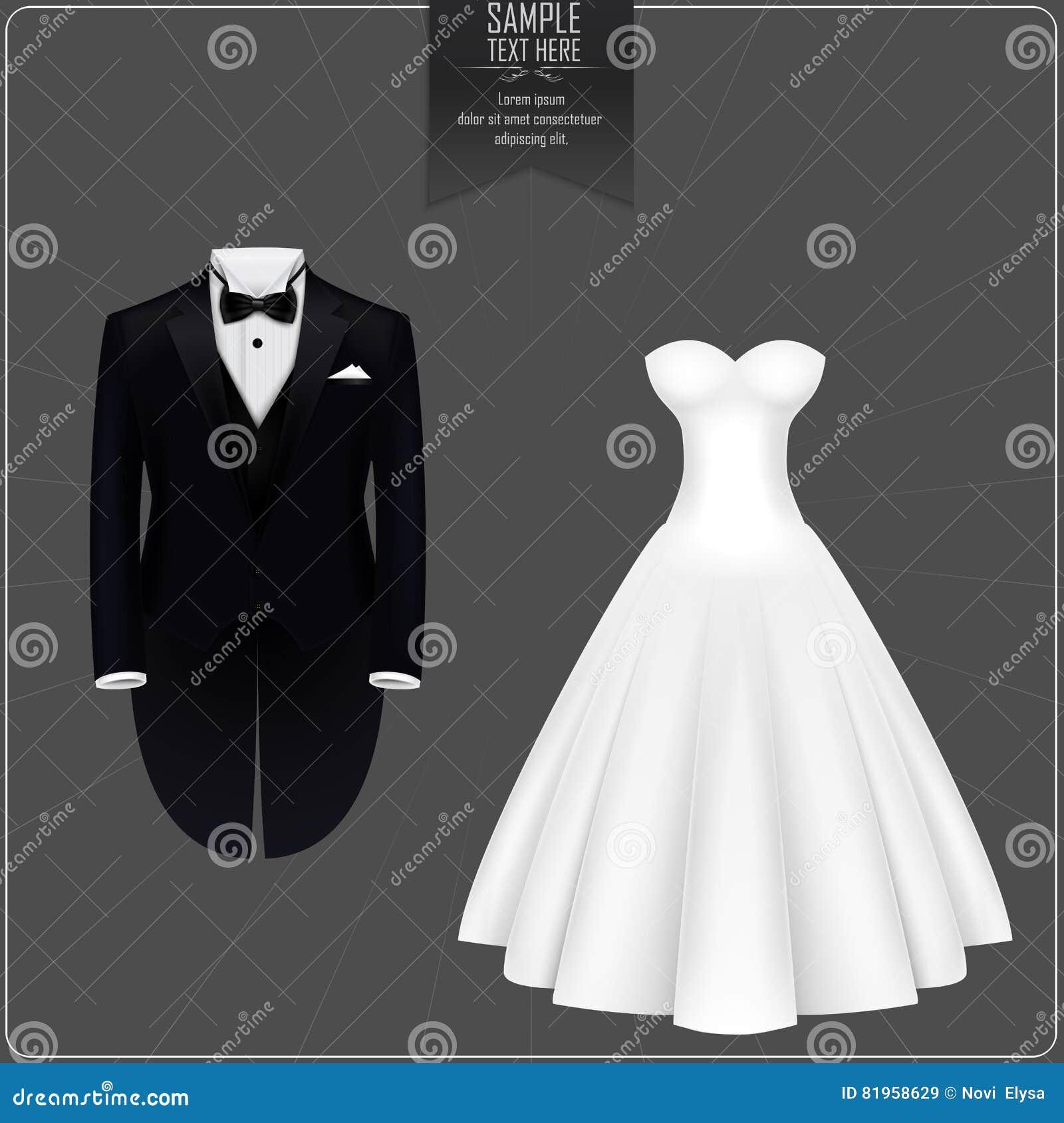 Tuxedo And Bridal Gown Cartoon Vector