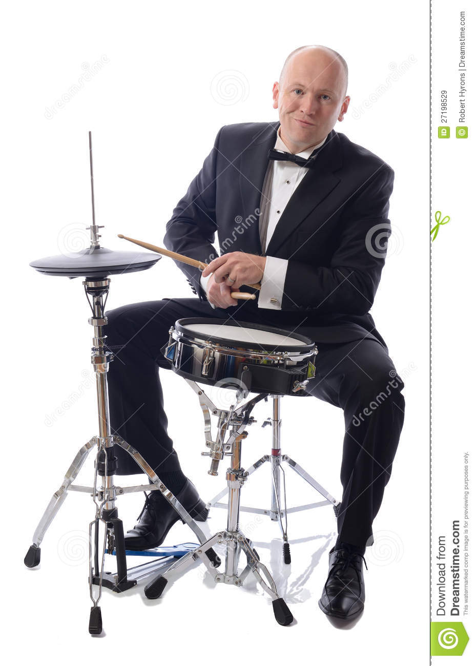 tuxedo playing drums royalty free stock images image. Black Bedroom Furniture Sets. Home Design Ideas