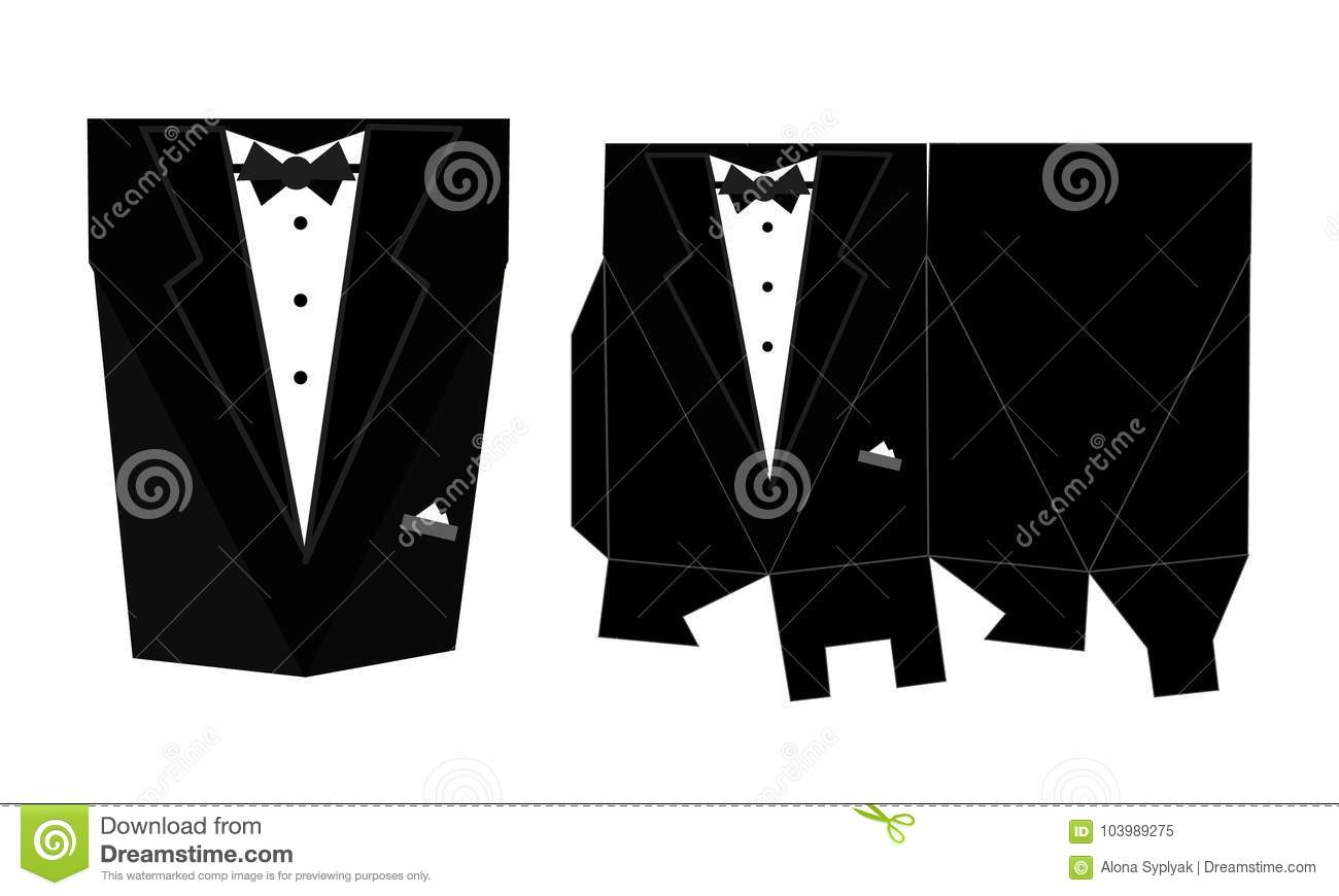 Tuxedo printable square packaging with lid. Groom wedding.