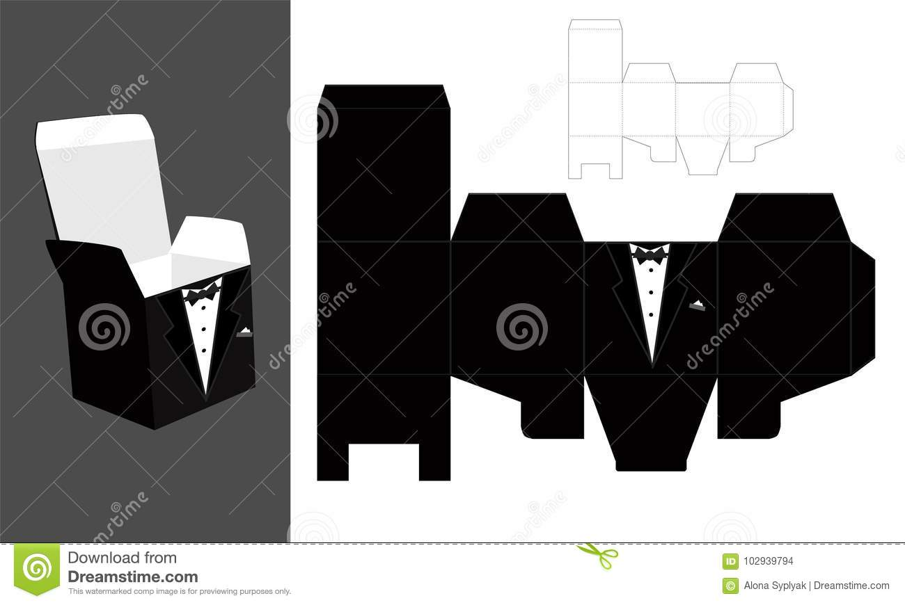 tuxedo printable square packaging with lid groom wedding favor