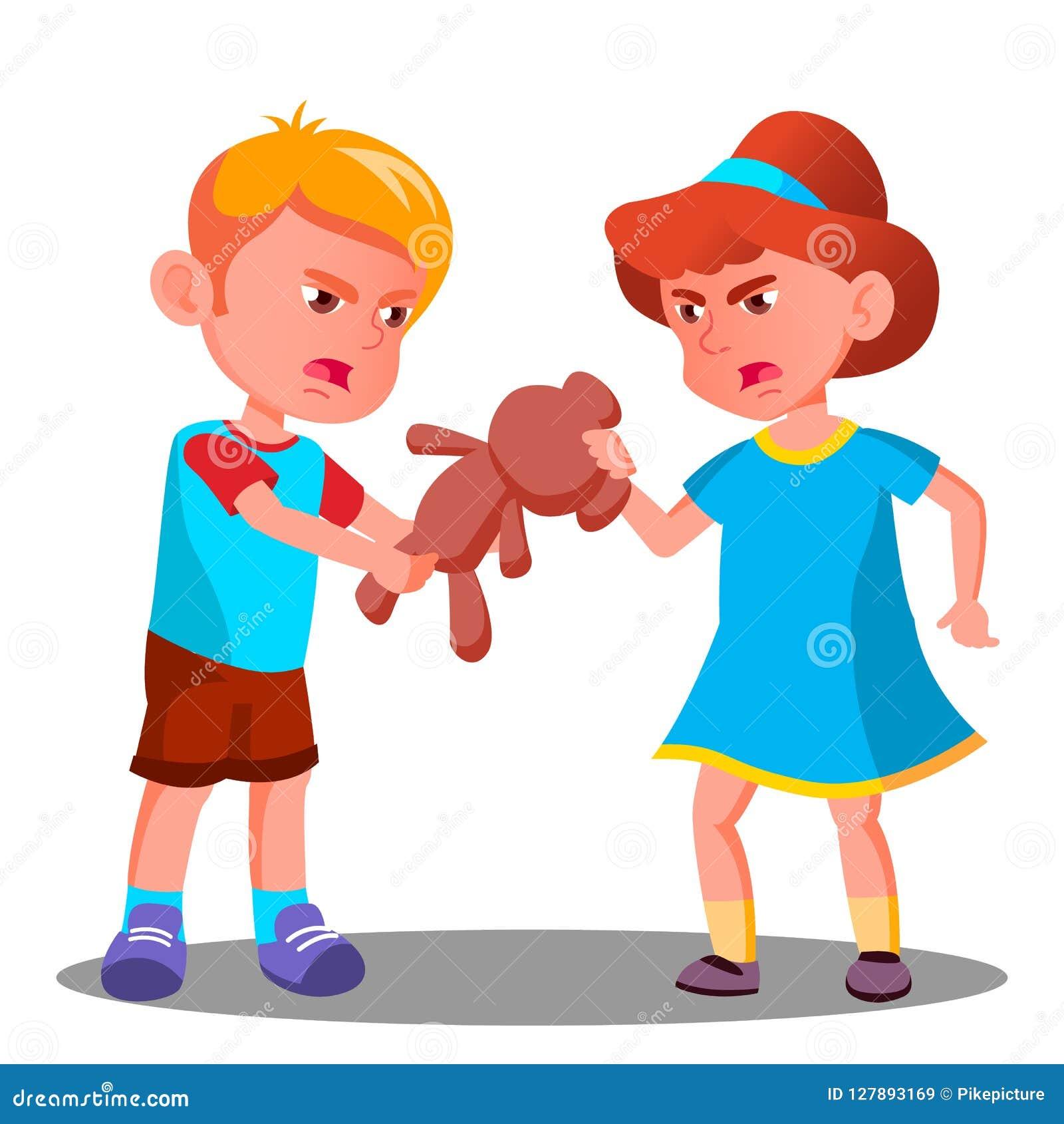 Två barn grälar över en Toy Vector isolerad knapphandillustration skjuta s-startkvinnan