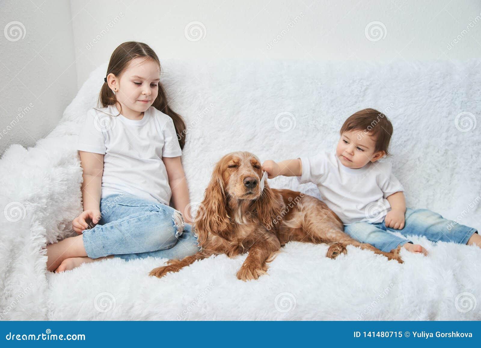 Två behandla som ett barn flickor, systrar spelar på den vita soffan med den röda hunden
