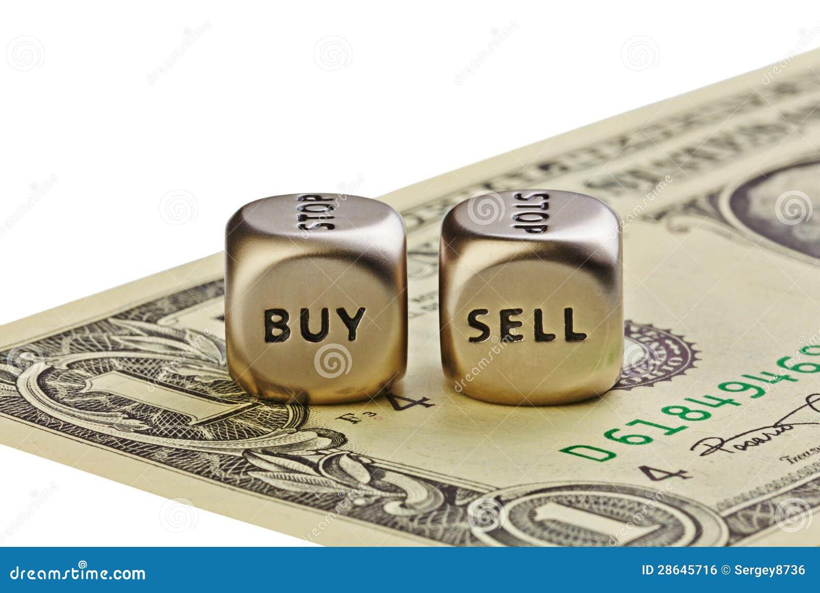 Två belägger med metall tärnar med uttrycker köp och Sell på en-dollar räkningisola