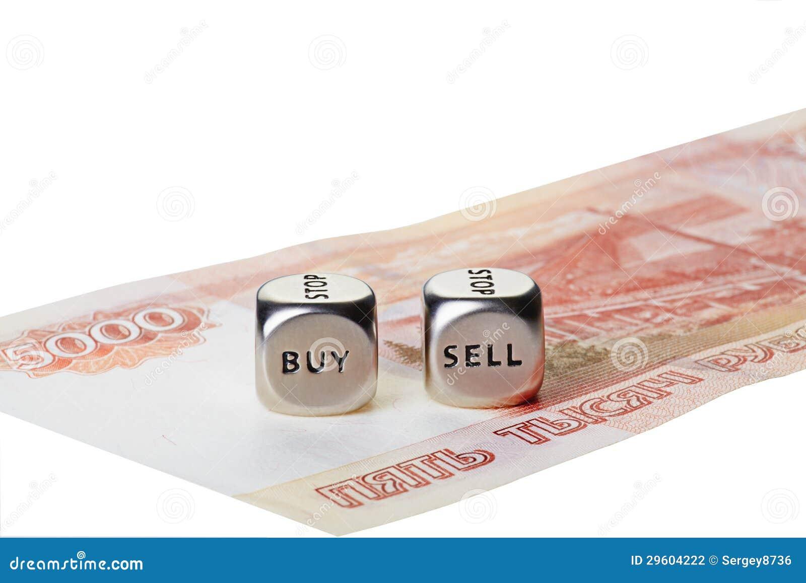 Två belägger med metall tärnar med uttrycker köp och Sell på fem tusen rouble