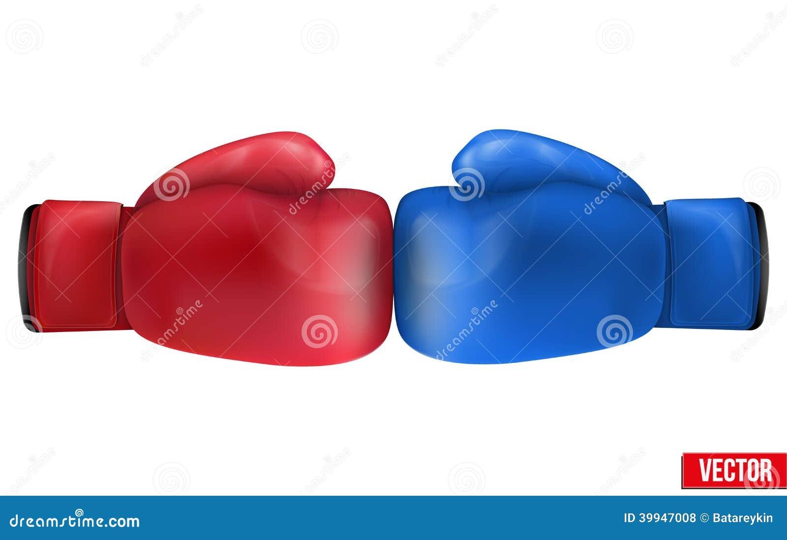 Två boxninghandskar i sammanstötning. Isolerat på vit bakgrund.