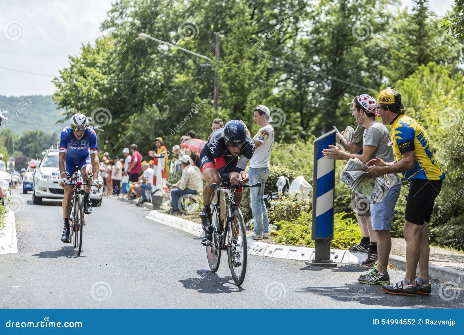 Två cyklist under en Tid slinga - Tour de France 2014