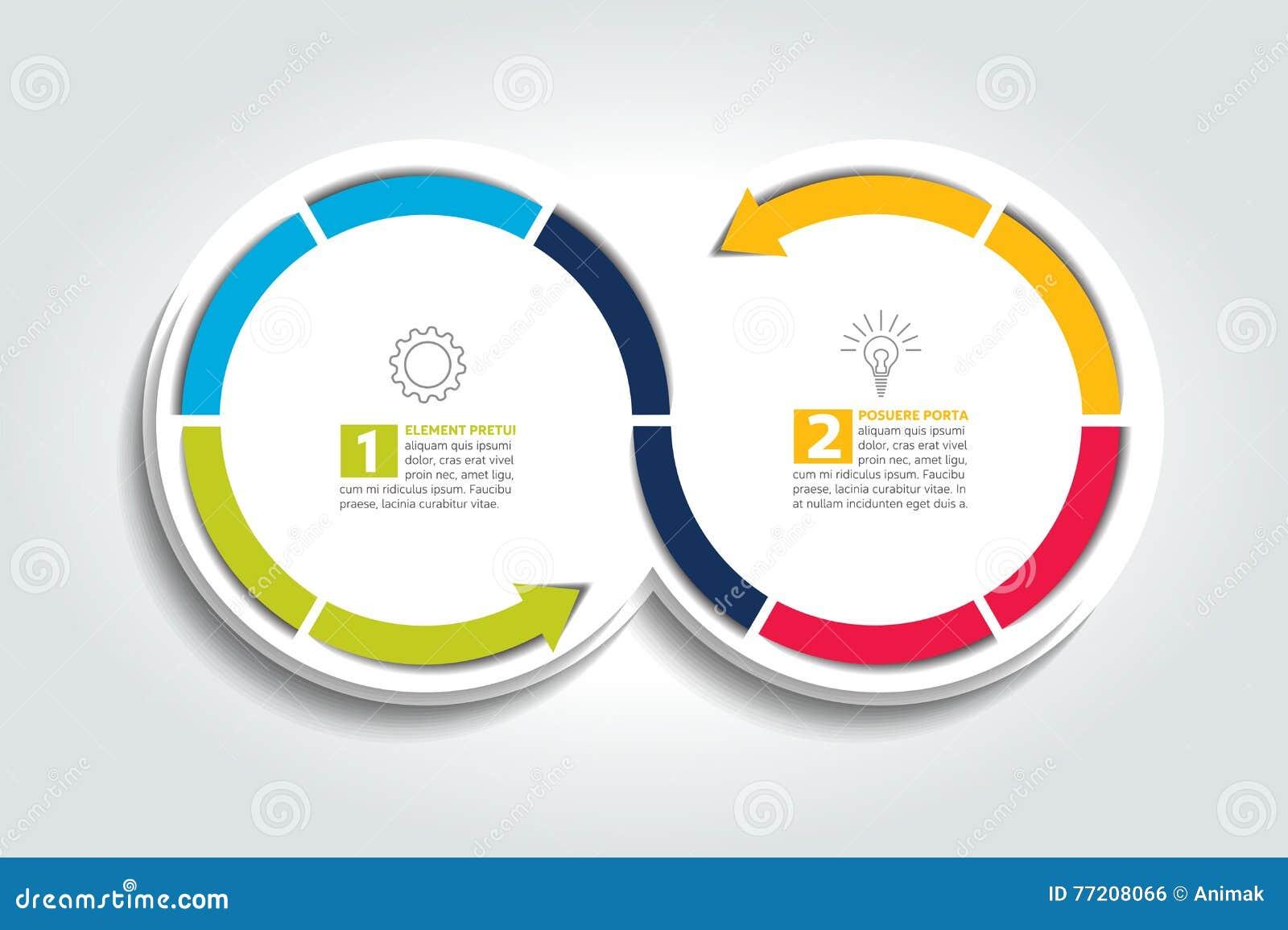 Två förbindelsepilcirklar Infographic beståndsdel