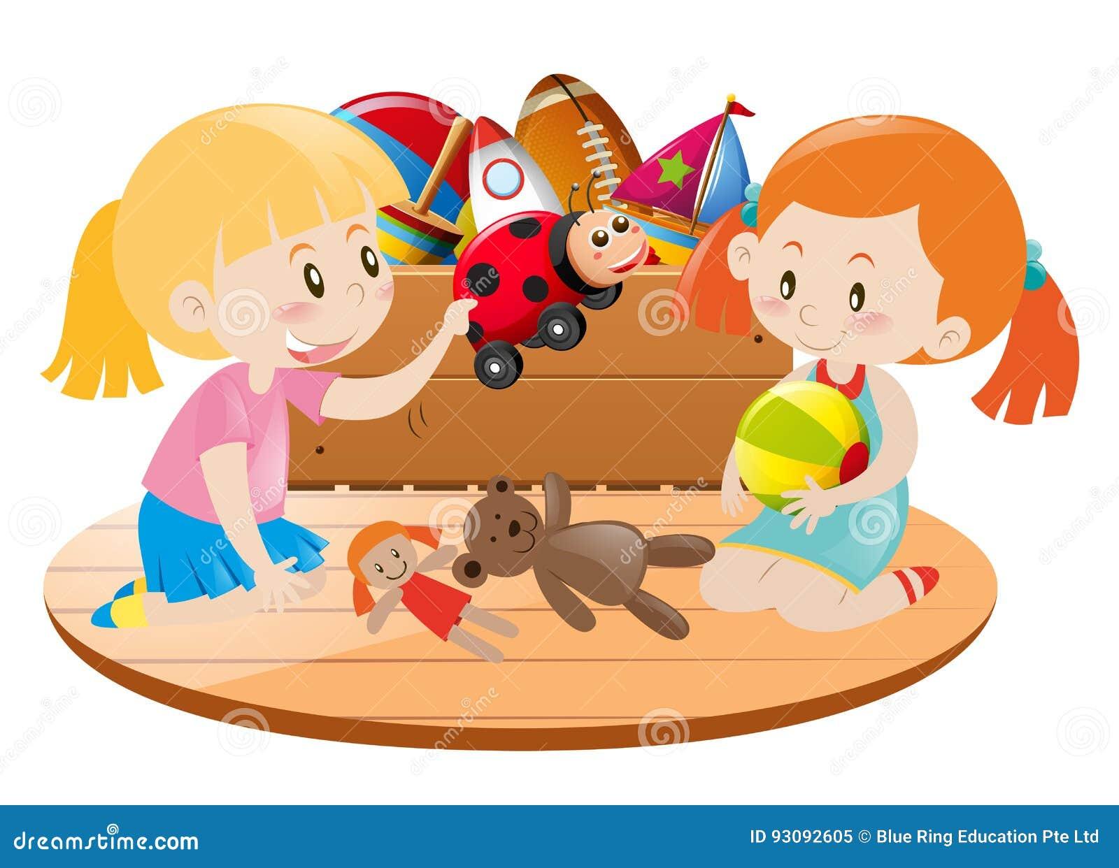 Två flickor som spelar med leksaker i rum