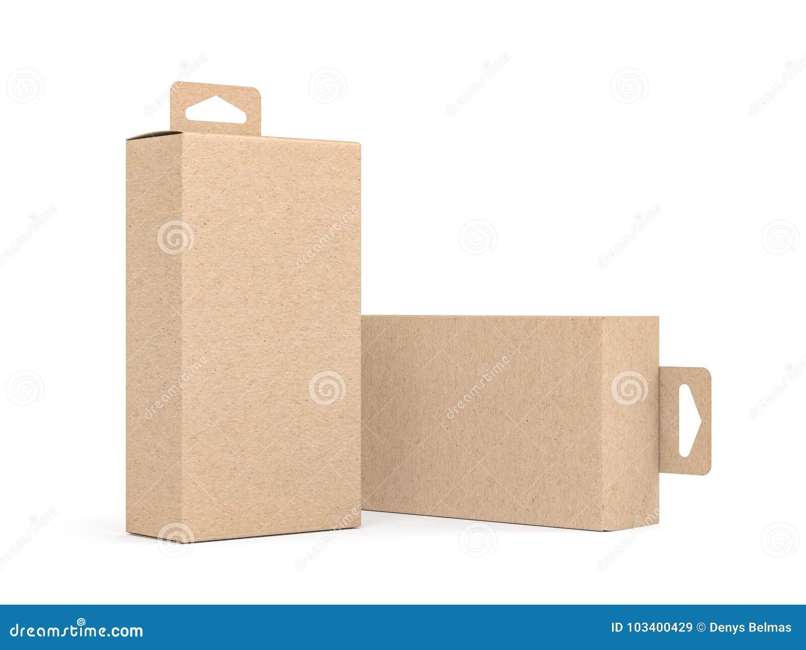 Två Kraft kartonger med Hang Tab den förpackande modellen