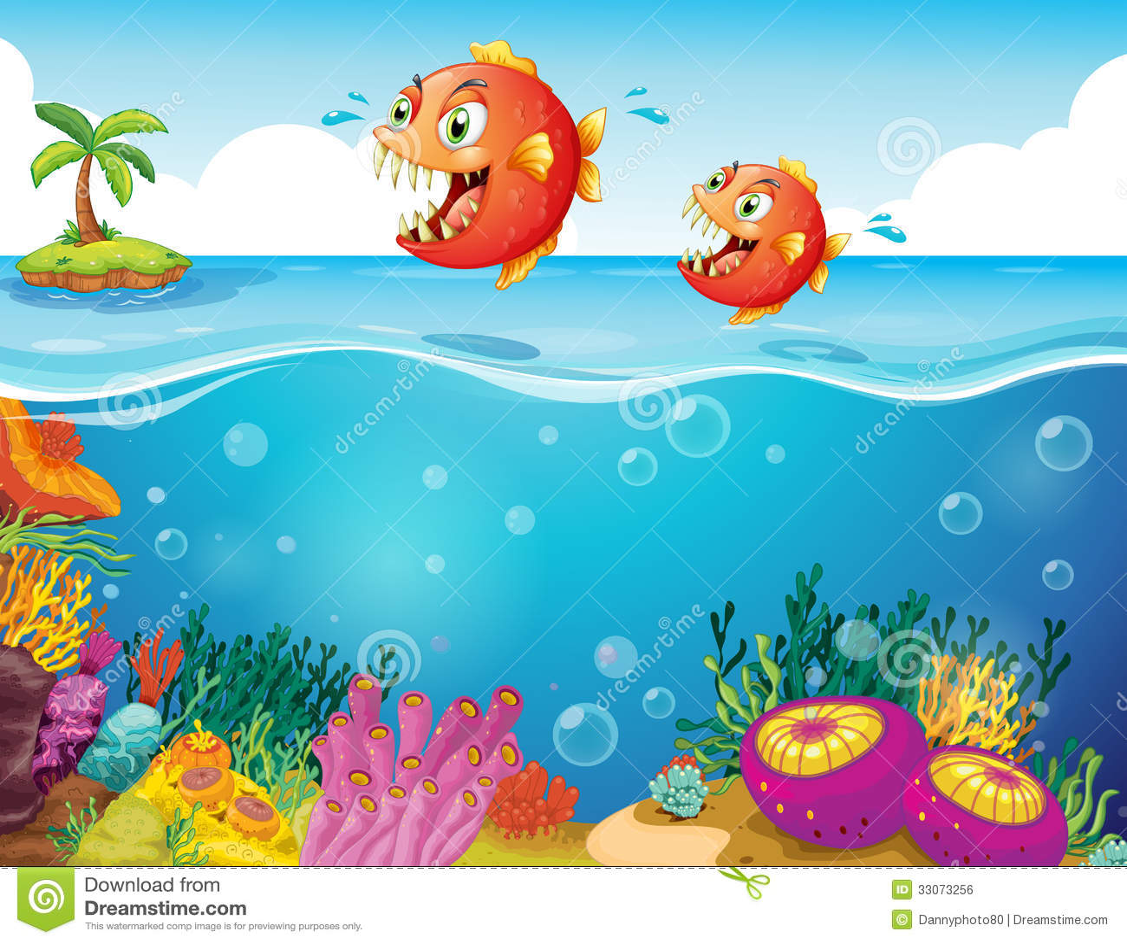 Två läskiga piranhas på havet