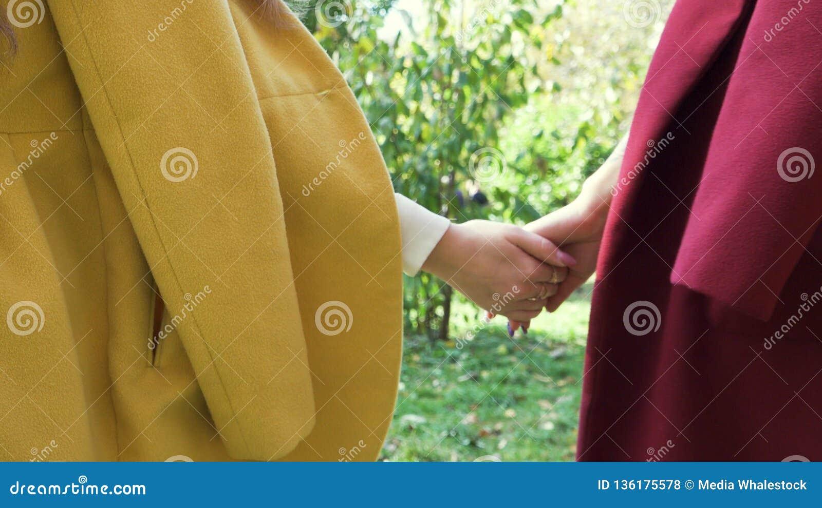 Två lesbiska kvinnan, unga flickor som rymmer händer och går i gräsplan, höst parkerar, LGBT-begreppet Samesex härlig lesbisk kvi