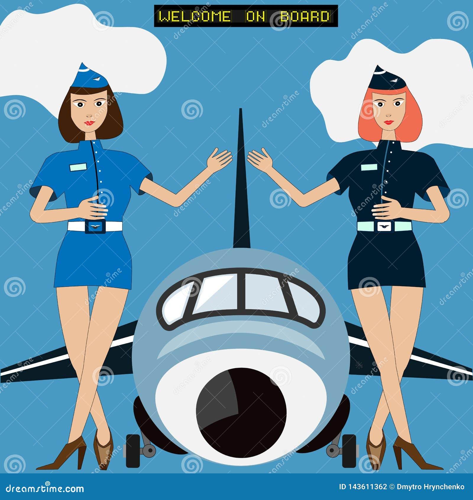 Två luftdamer av flyglyxfnaskvälkomnanden på logi i från av stor flygplan eller nivå