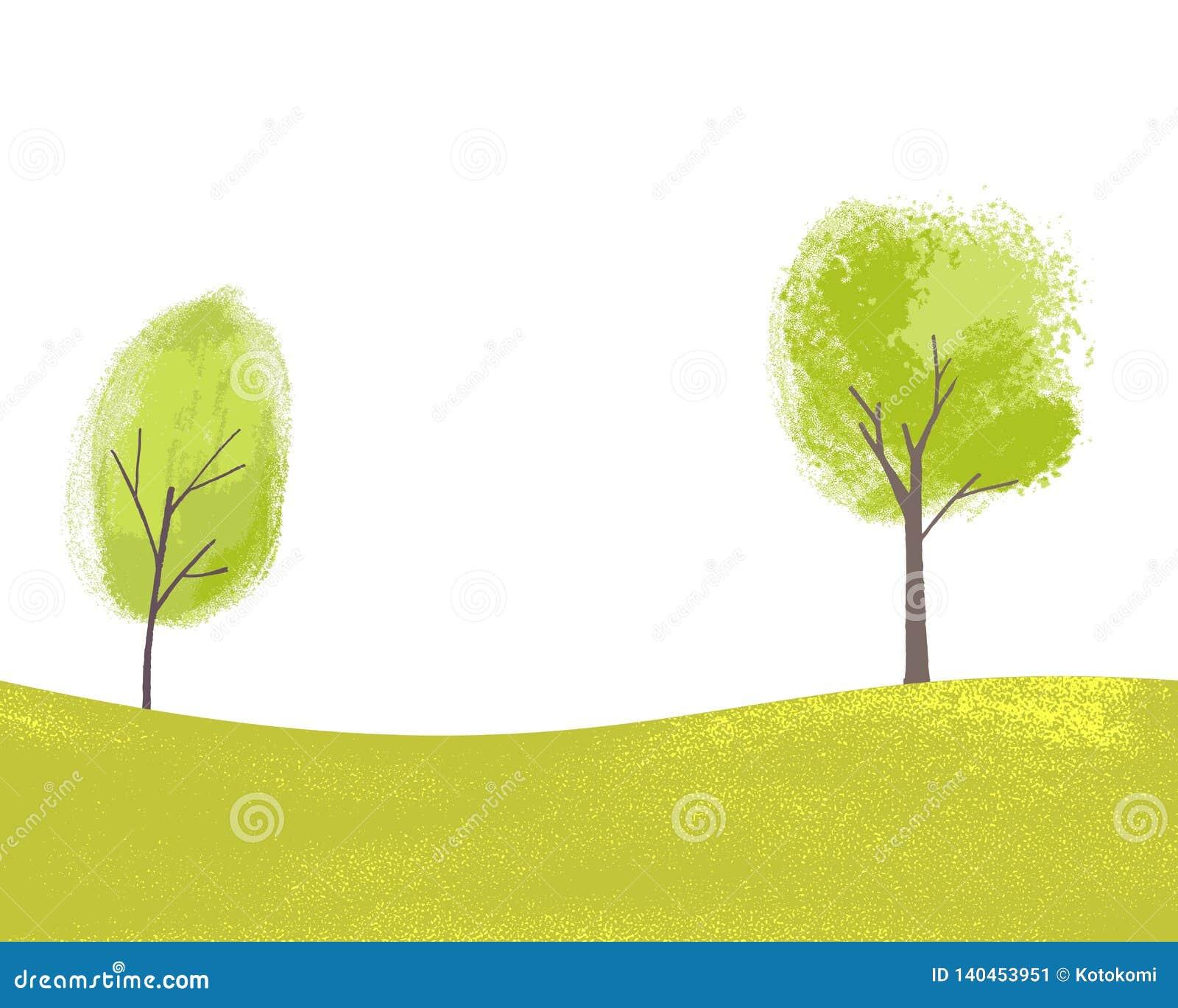 Två målade träd på gröna kullar med gräs Texturerad illustration av våren och sommar Fridsamt landskap med kopian