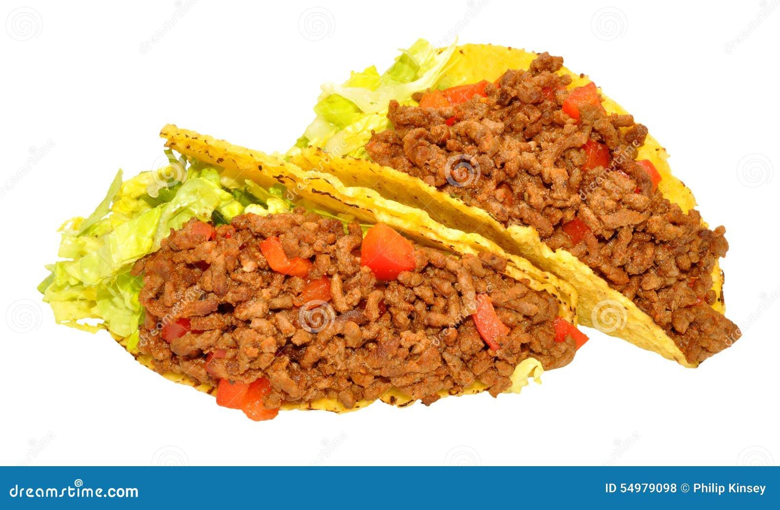 Två nötkött fyllda taco