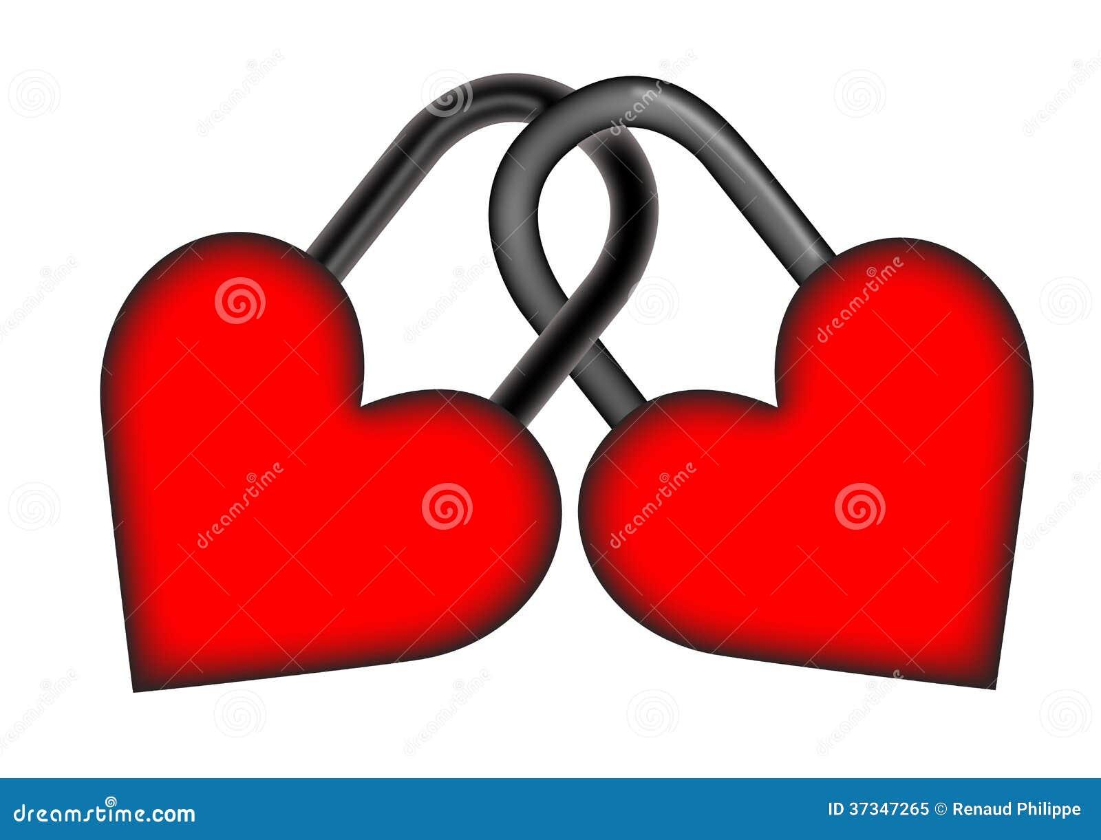 Två padlocked valentinhjärtor
