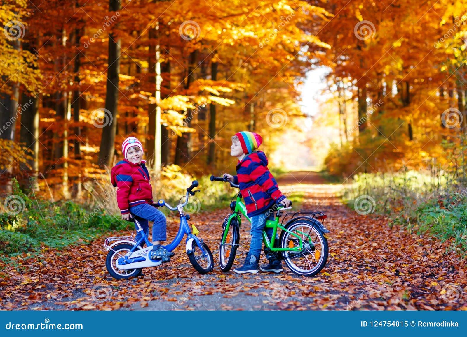 Två pojkar för små ungar, bästa vän i höstskog med cyklar Aktivt syskon, barn med cyklar Pojkar in