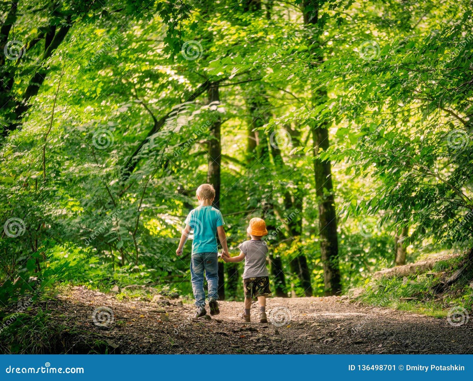 Två pojkar går vidare banan i de gröna skog- och hållhänderna