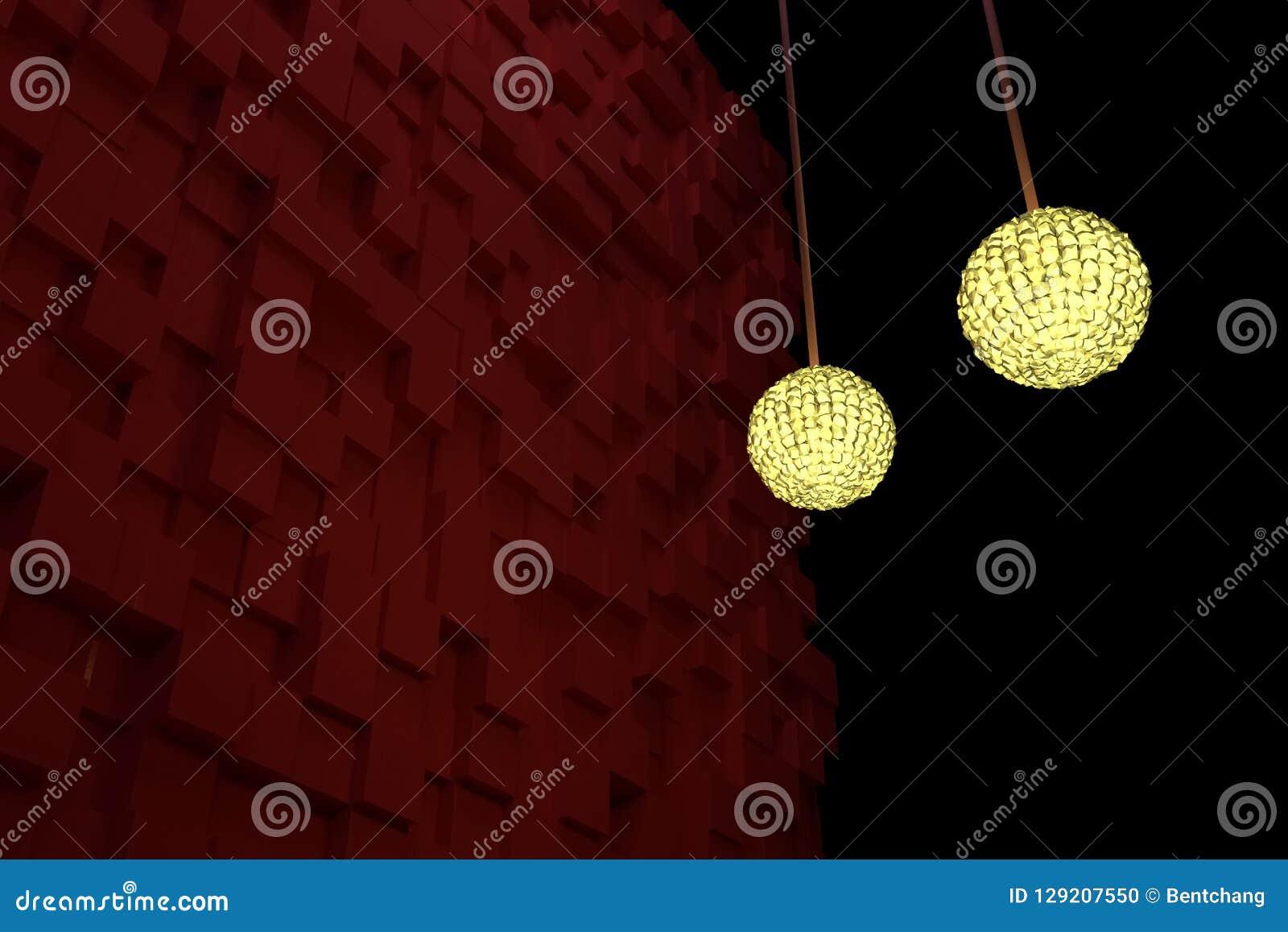 Två räcka lampor med gult ljus, röda kuber som bakgrund Fantasi, illustration, konstnärligt & sfär