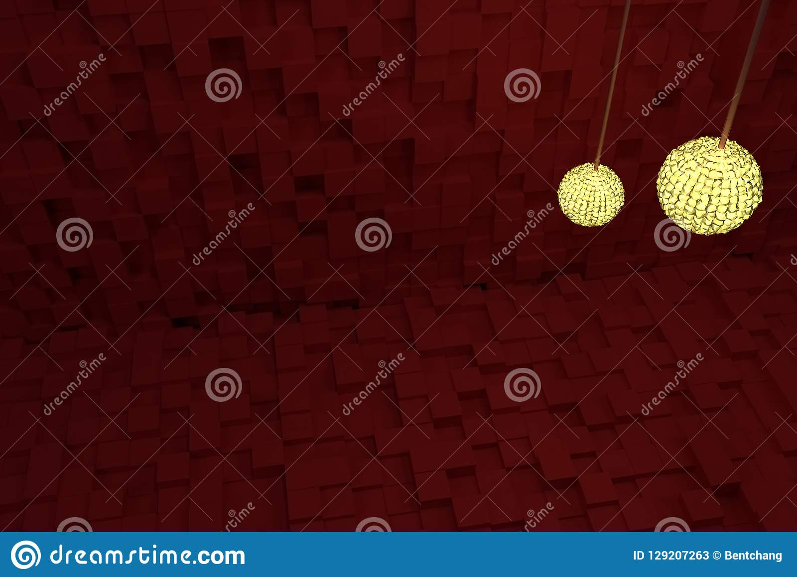 Två räcka lampor med gult ljus, röda kuber som bakgrund Stil, perspektiv, tecknad film & generativt
