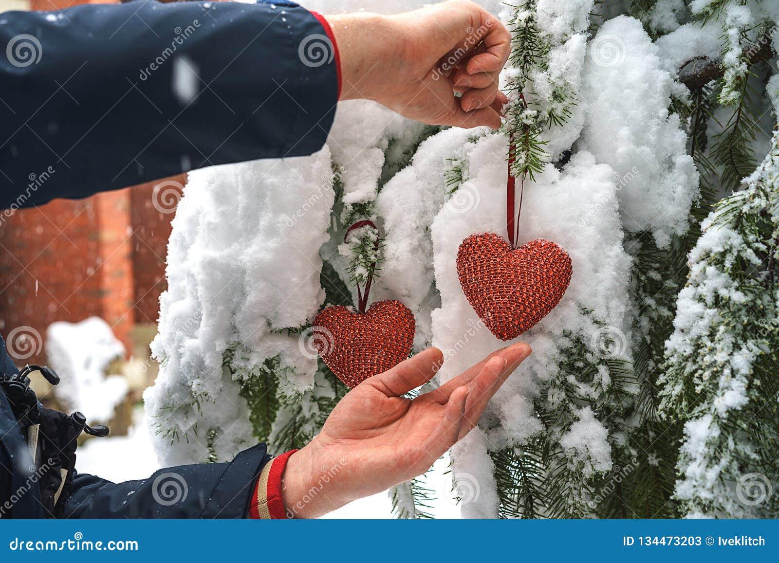 Två röda textilhjärtor och mans händer på tung snöig granfilialbakgrund, nära hus för röd tegelsten Glad jul, lycklig ny jaröst