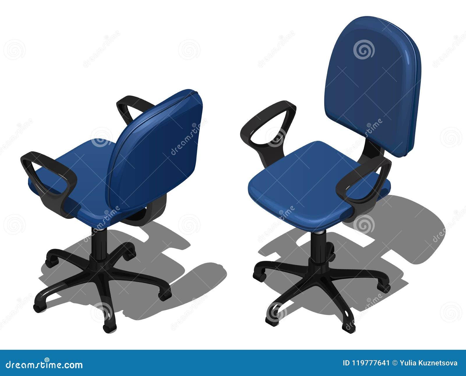 Två roterande stolar för blått kontor, vektorillustration i isometrisk sikt