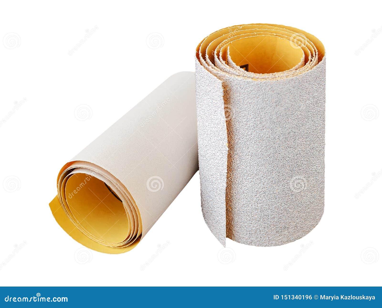 Två rullar av extra grov och toppen fin sandpapper för aluminiumoxid Slipande papper för torrt sandpappra Bearbeta trä och metall