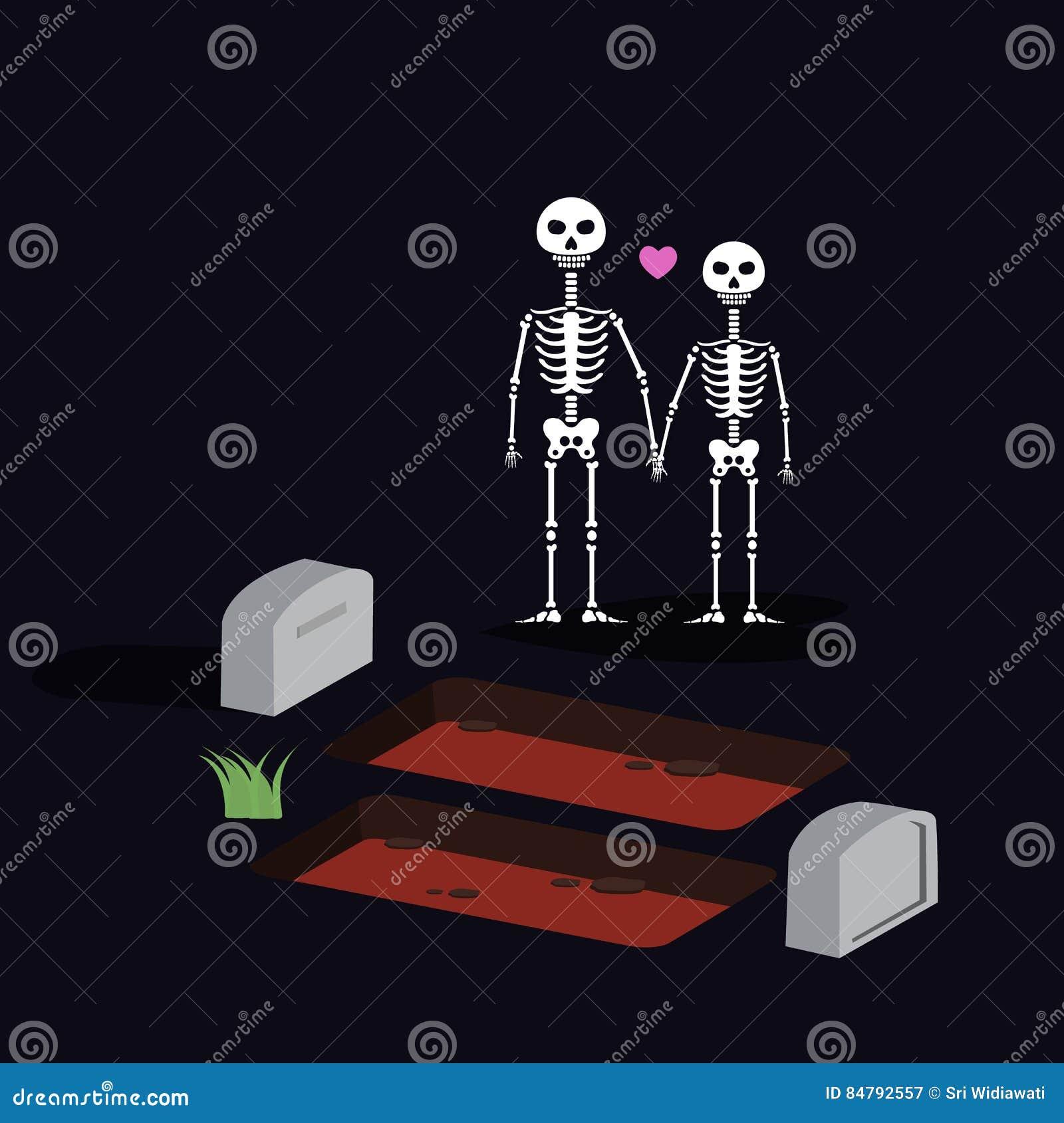 Två skallar med den stående valentinnatten halloween för benet på kyrkogård älskar för evigt