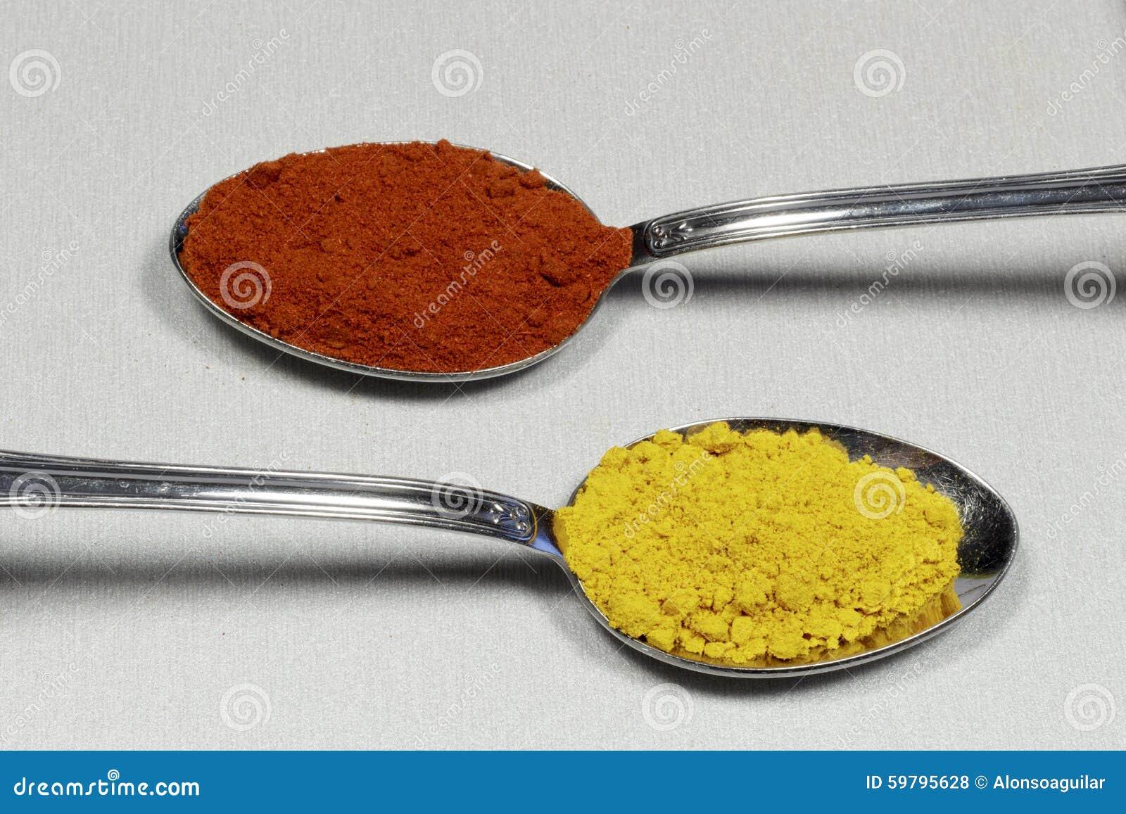 Två skedar som innehåller paprika och curry