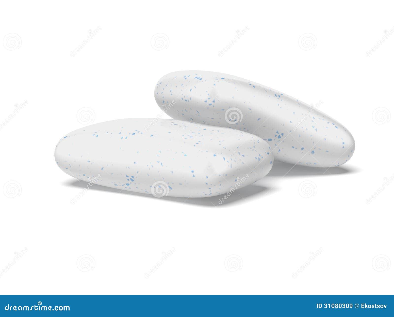 Två stycken av vitt tuggummi