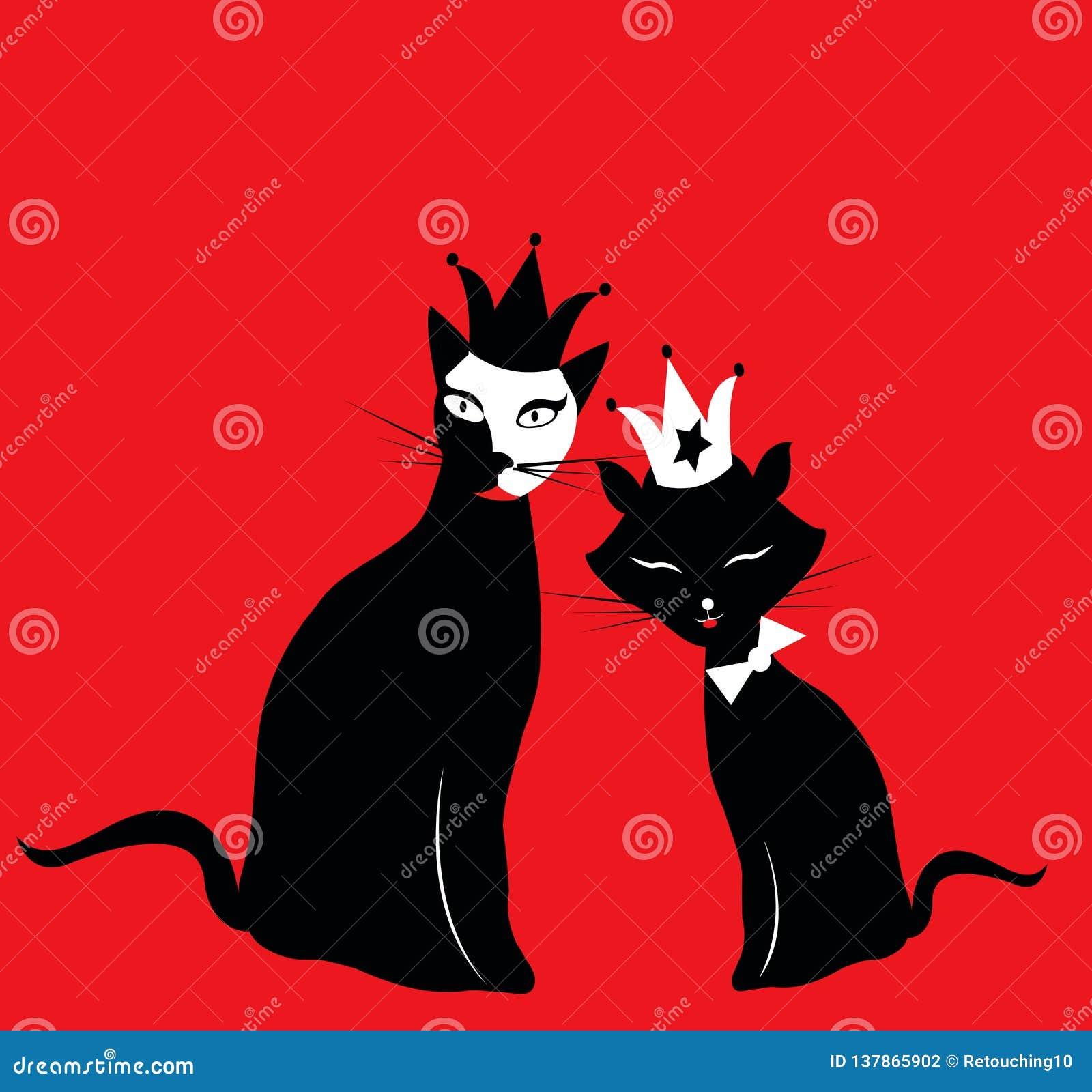 Två svarta kungliga katter på röd bakgrund